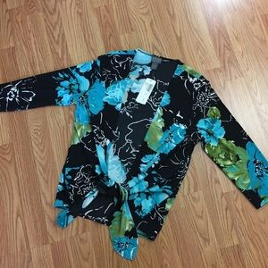 Chico's travelers tropical oasis tied up 3/4 slv